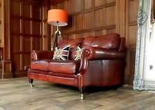 VICTORIAN STYLE CHESTNUT ANTIQUE TAN BROWN LEATHER 2 SEATER CLUB SOFA 2 of PAIR