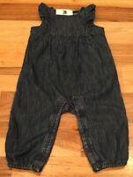 Baby Gap Girls 0-3 Months Lightweight Denim Blue Romper / Jumpsuit. Nwt