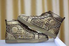 NEW CHRISTIAN LOUBOUTIN Louis Orlato Flat Gold Python Spikes Sneaker Shoe EU39,5
