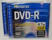*Lot of 2* Memorex DVD-R 4.7GB 120 Min Video Single Sided Version 2.0 New Sealed