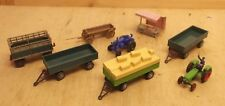 2 x Wiking Tractor Deutz Fahr Tug Boat with 5 Trailers and 1 Market Stall