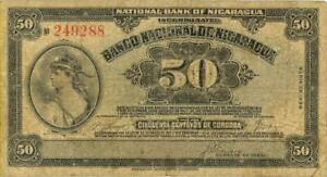 Nicaragua 50 Centavos Currency Banknote 1938