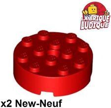 Lego - 2x brique ronde brick round 4x4 rouge/red 87081 NEUF