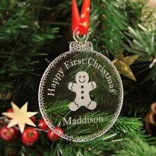 Personalised Christmas Tree Decoration Engraved Bauble Gift - My First Christmas