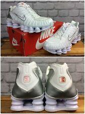 Nike Da Uomo Shox TL Bianco Argento Metallizzato Scarpe Da Ginnastica Rrp £ 150 Varie Taglie EP