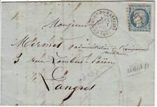 20c SIEGE N° 37 obl lettre du 31 AOUT 1871 DERNIER JOUR DU TARIF à 20 C !!!!!