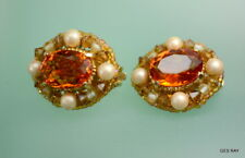 Vintage Czech Gold Filigree Yellow Cabochon Rhinestone Pearl Clip On Earrings