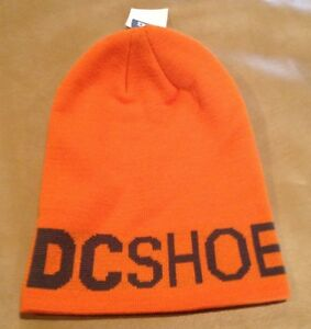 NWT DC Shoes Orange w Gray Beanie No Pom One Size Unisex Bromont 14 NEW