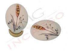 Pomolo Pomello 670-81 spiga porcellana ceramica ovale base ottone antico cucina