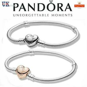 Silver Rose Pandora Women Moments Heart Clasp Silver Charm Chain Bracelet UK