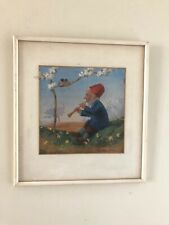 Paul Lothar Muller Vintage German Framed Gnome Painting Repro 12X13 Birds Music