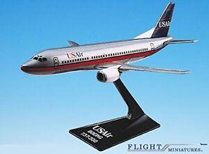 USAir (89-97) Boeing 737-300 Airplane Miniature Model Plastic Snap Fit 1:180 Par