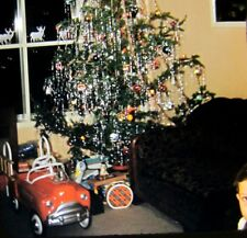 Vtg Kodachrome Red Border 35mm Slide Christmas Tree Murray Pedal Car Fire Truck