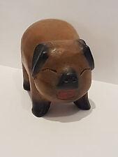 Schwein aus Holz geschnitzt Handarbeit Unikat braun Deko Tierfigur Skulptur