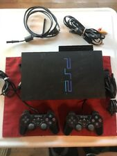 Sony PS2 Fat Black Playstation 2 Bundle - Console 2 controllers, 6 games