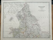 1880 NORTHERN ENGLAND HAND COLOURED ORIGINAL ANTIQUE MAP BY JOHNSTON