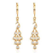 Women Beauty Peacock 18K Gold Plated Cubic Zirconia Long Drop Earrings Jewelry