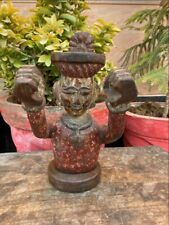 Antique Old Wooden Hand Craved Painted Seating Tribal Man Hand Raise Figure