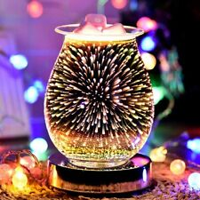 3d Glass Electric Firework Oil Wax Melt Burner Home Fragrance Aroma Touch Lamp