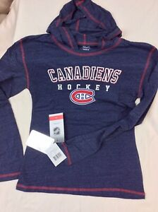 NHL Montreal Canadiens Size L (14) Youth Girls L/S hooded Tshirt NWT