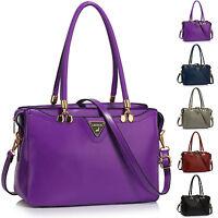 Large Ladies Faux Leather Women Shoulder Bag Cross Body Handbag Tote Hobo New UK