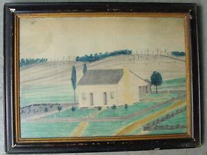 framed 19th C Folk Art pencil & watercolor school child drawing of farm house  w