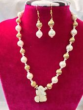 Vintage Gold White Pearl Beaded  Stone Necklace and Earring Set