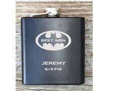 Personalized Best Man Batman Inspired Flask Great Groomsmen Usher Gift