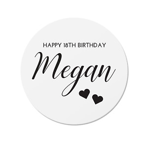 24 Personalised Happy Birthday Stickers, Any Text, Age or Colour, 18th 21st 30th