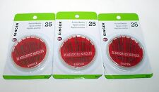 Singer Assorted Hand Needles 3 Pack - Assorted 25 Ct - 75 Total Needles