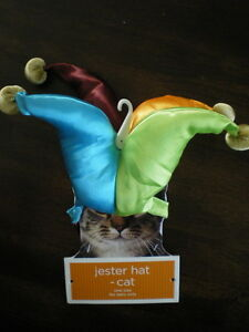 Cat JESTER HAT One Size NEW Satin CLOWN HARLEQUIN Pet Kitty COSTUME