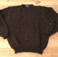 Polo Ralph Lauren Wool Crew Neck Chunky Ribbed Brown Sweater XL Vintage