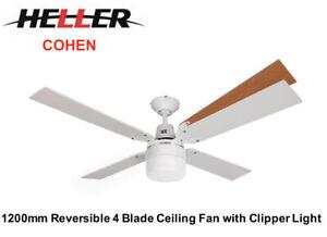Heller 1200mm 4 Blade Reversible Ceiling Fan+Clipper Light 'COHEN'