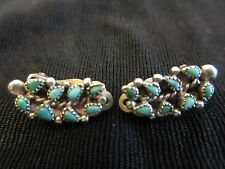 Antique Zuni Petit Point Turquoise Clip Earrings