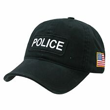 Black Police Officer Cops Low Profile Baseball Cap Caps Hat Hats US USA Flag