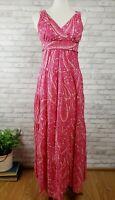 Talbots size 2 maxi dress sundress magenta pink cotton paisley boho tiered skirt