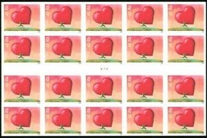 Love: All Heart Full Pane of Twenty 42 Cent Stamps Scott 4270a