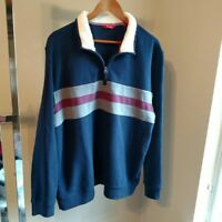 IZOD Partial Zip Rugby Pullover Large Navy Stripe Mens Size L Fleece Collar New