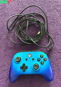 MICROSOFT XBOX ONE USB WIRED CONTROLLER SPACE BLUE POWERA FULLY TESTED