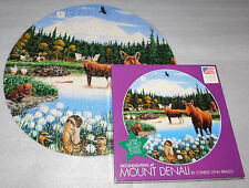 Moonlighting Mount Denali 500 Piece Round Jigsaw Puzzle Moose Swan Beaver