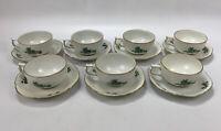 7 Sets 14pcs Rosenthal Classic Rose Green Rose Pattern Tea Cups & Saucers