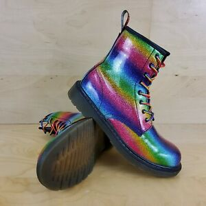 DR MARTENS 1460 OMBRE RAINBOW GLITTERY BOOTS SIZE UK 4 EUR 37