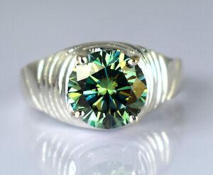 Beautiful Design 5.24 Ct Certified Green Diamond Solid Men's Engagement Ring