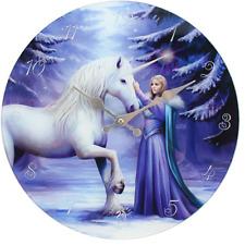 Pure Magic Glass Wall Clock by Anne Stokes - Unicorn Design 34cm Boxed Heart