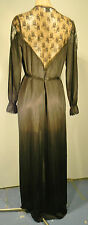 Sexy Back Vintage Sheer Black Long Night Robe Bed Jacket Lace Trim Lingerie Sm.