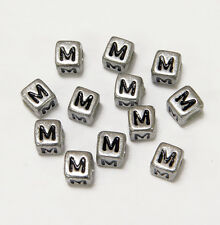 "6mm Silver Metallic Alphabet Beads Black Letter ""M"" 100pc"