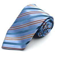 Ermenegildo Zegna Men's  Blue Silk Neck Tie Made in Italy Striped 3.5 x 60