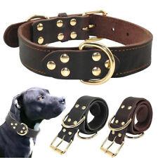 Heavy Duty Cowhide Leather Dog Collar for Medium Large Rottweiler Pitbull Lab