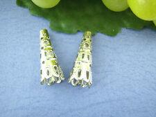100 Perles coupelles longues cône argenté 23*9mm (pour 8-10mm perles)