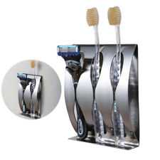 NEW Stainless Steel Toothpaste Dispenser Toothbrush Holder Set Wall Mount Stand
